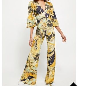 Free People Night Fever Yellow Hues Combo Jumpsuit